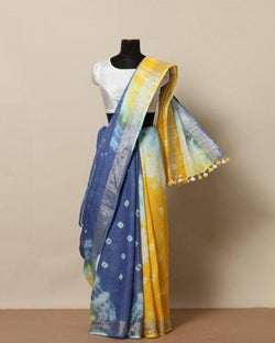 Malbari Blue Shades Linen saree