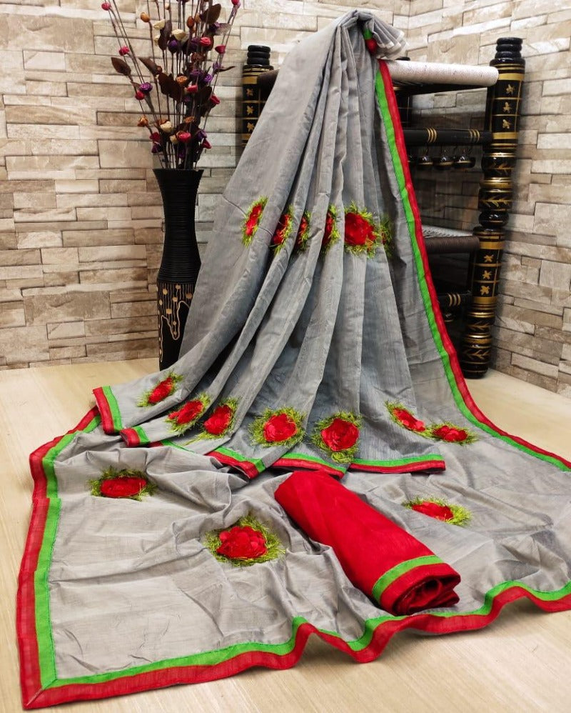 Cotton Chanderi Grey Saree