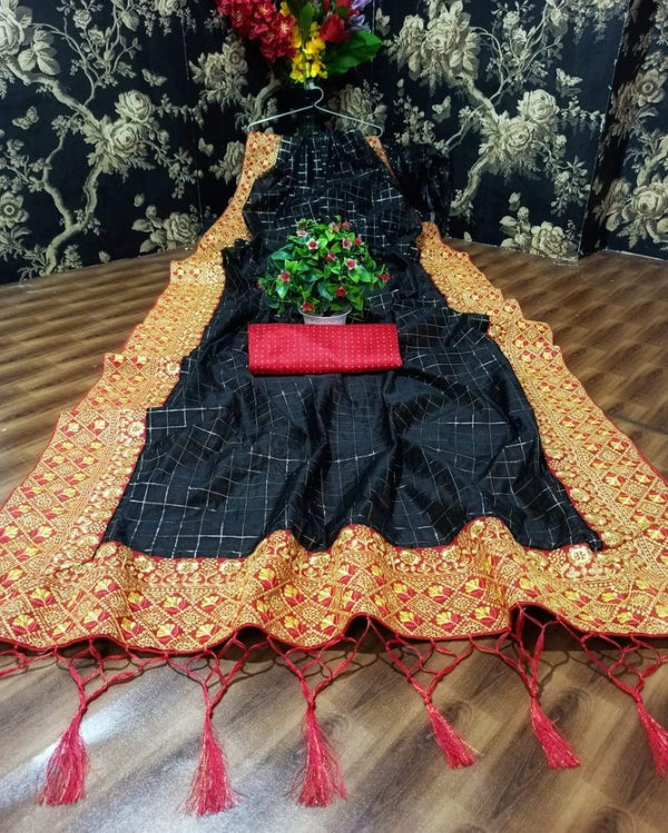 Embroidery Silk Tant Black Saree