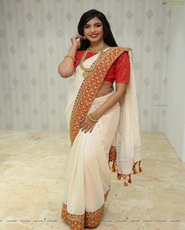 Embroidery Silk Tant White Saree