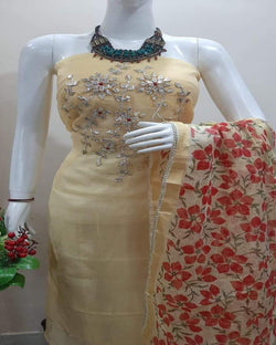 Yellow Neck Embroidery Kota Dressmaterial