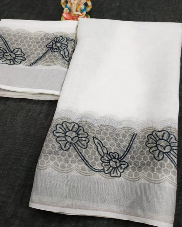 Offwhite Royal Print Linen Border Saree