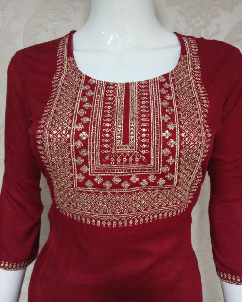 Sequence Round Neck Maroon Kurti