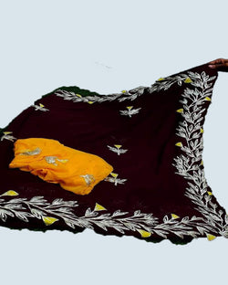 Chiffon Border Brown Saree