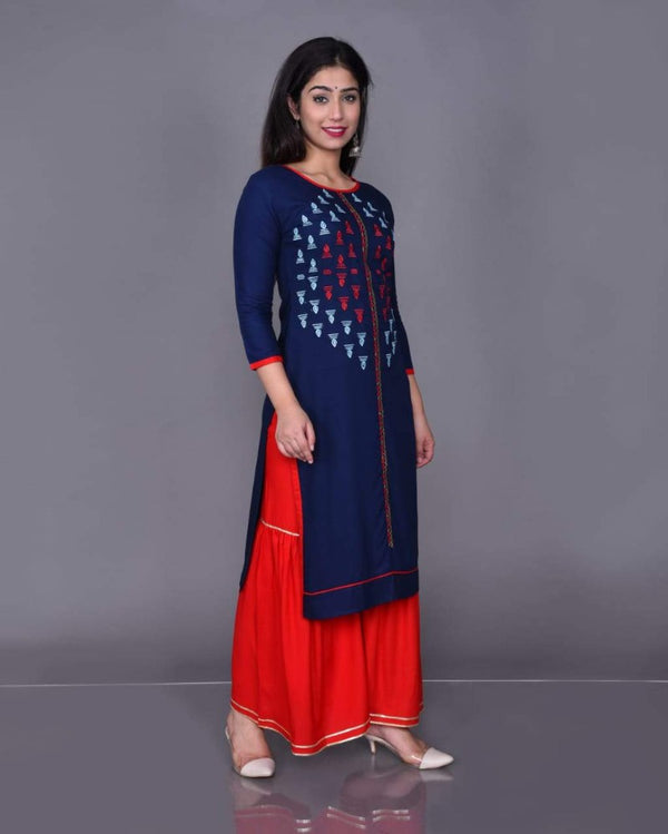 Embroidery Red Sharara Suitset
