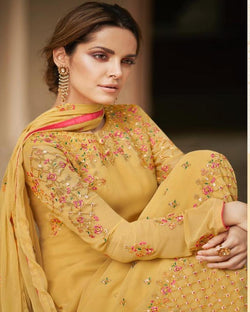 Yellow Embroidery Georgette Dressmaterial