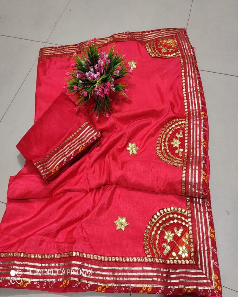 Zari Border Silk Orange Saree