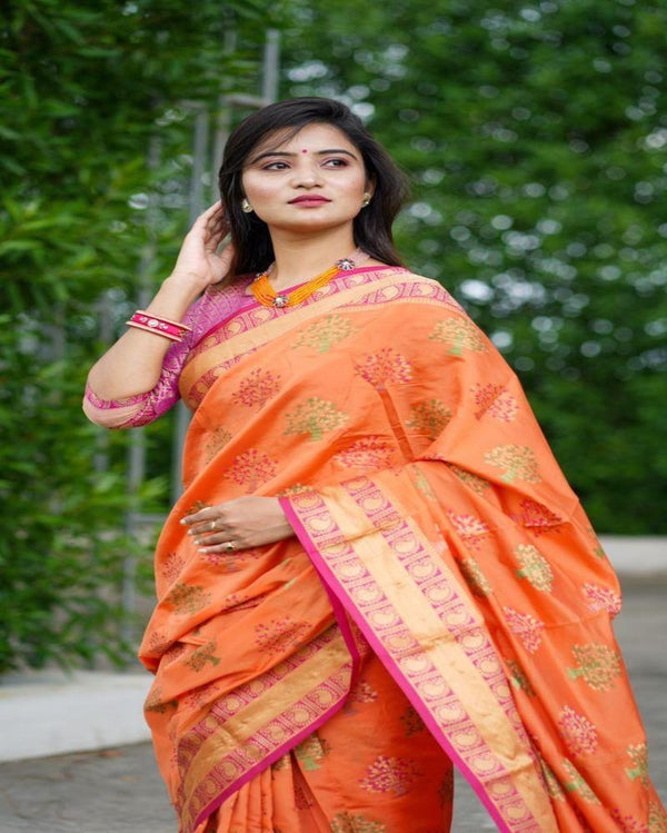 Traditional Kashmira Silk Orange Saree