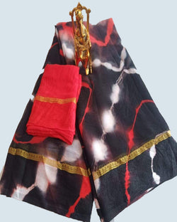 Black Fancy Bandhej Dye Saree