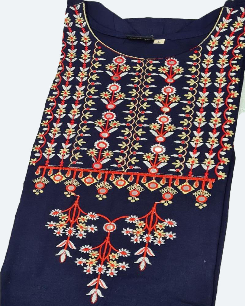 Blue Printed Embroidery Kurti Palazoo
