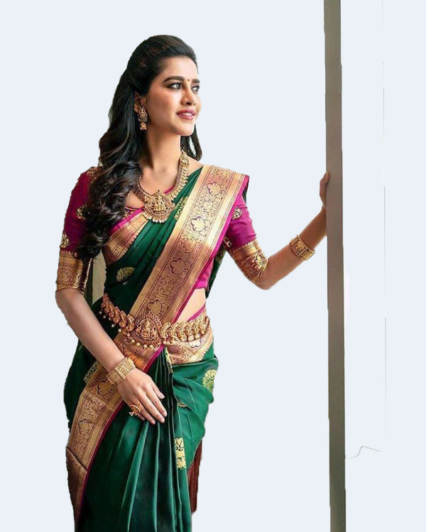 Bottle Green Kanchipuram Border Saree