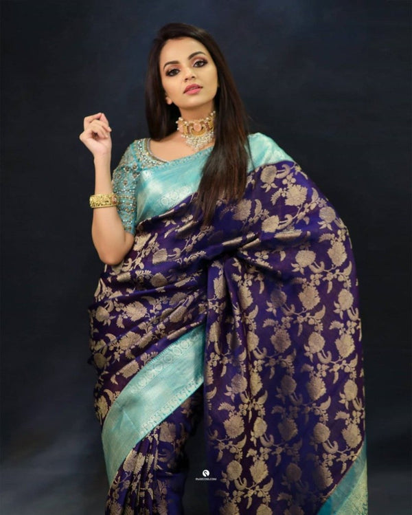 Traditional Blue Kanchipuram Classis Saree