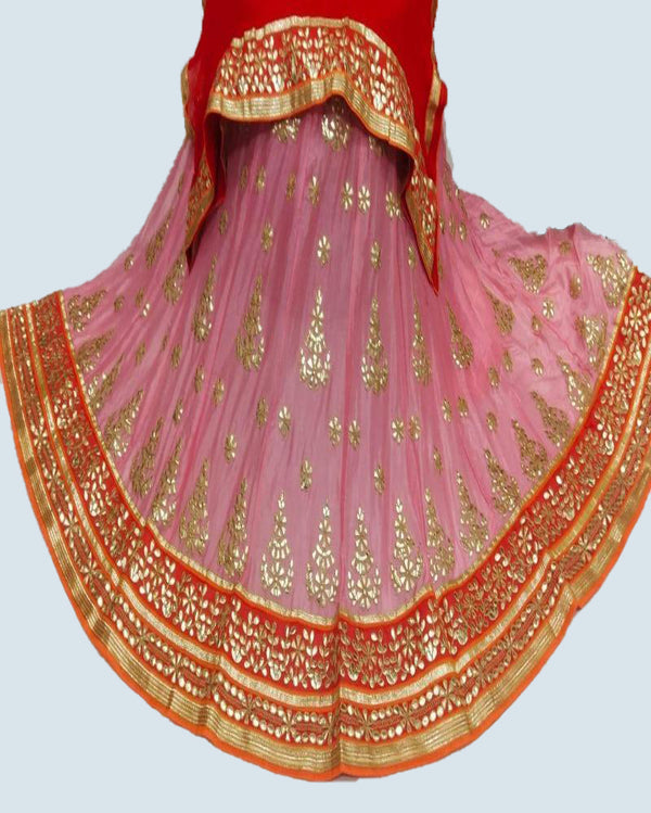Orange Chiffon Gottapatti Look Lehenga