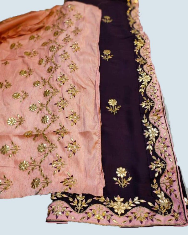 Border Sitara Brown Embroidered Saree