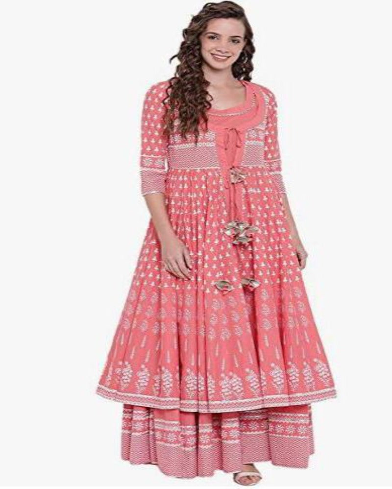 Pink Shrug Gold Coin Festive Anarkali