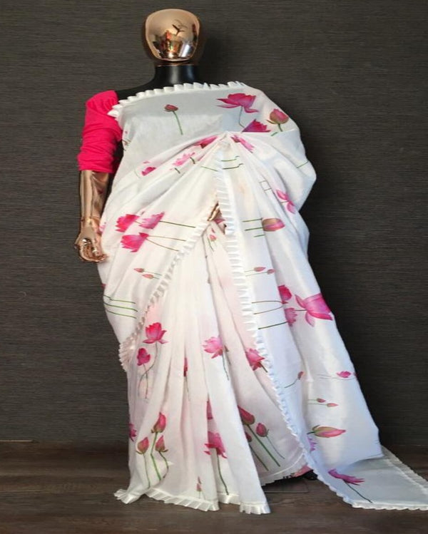 White Frill Designer Chanderi Saree