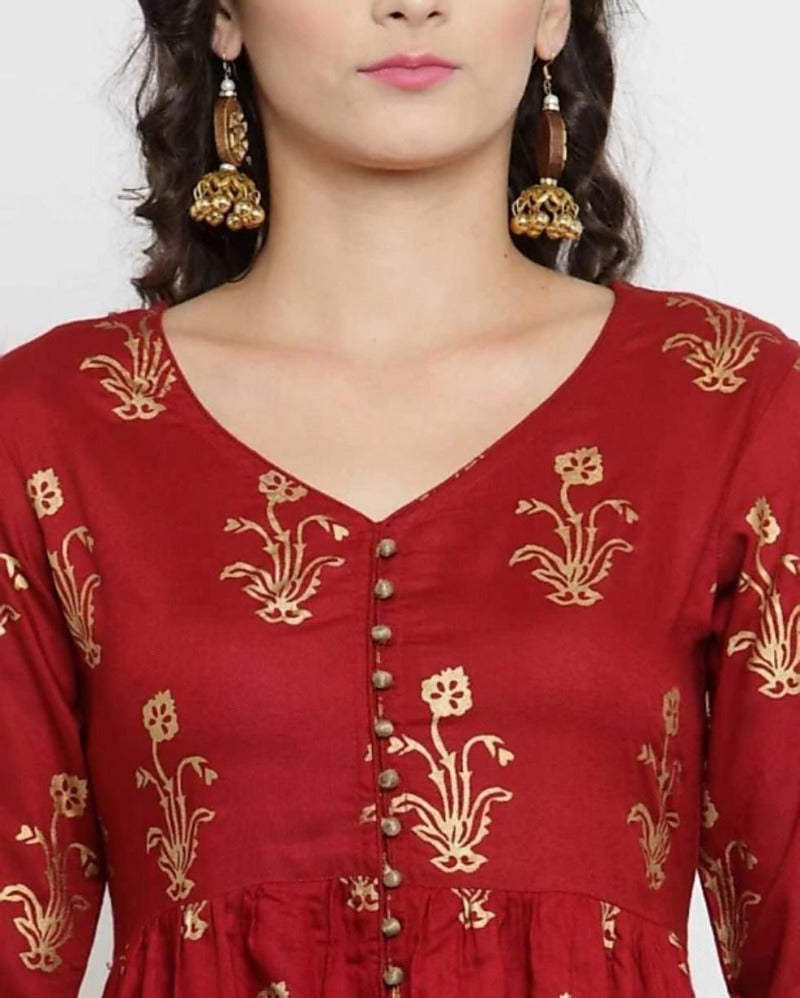 Traditionally Red Slit kurta Palazoo