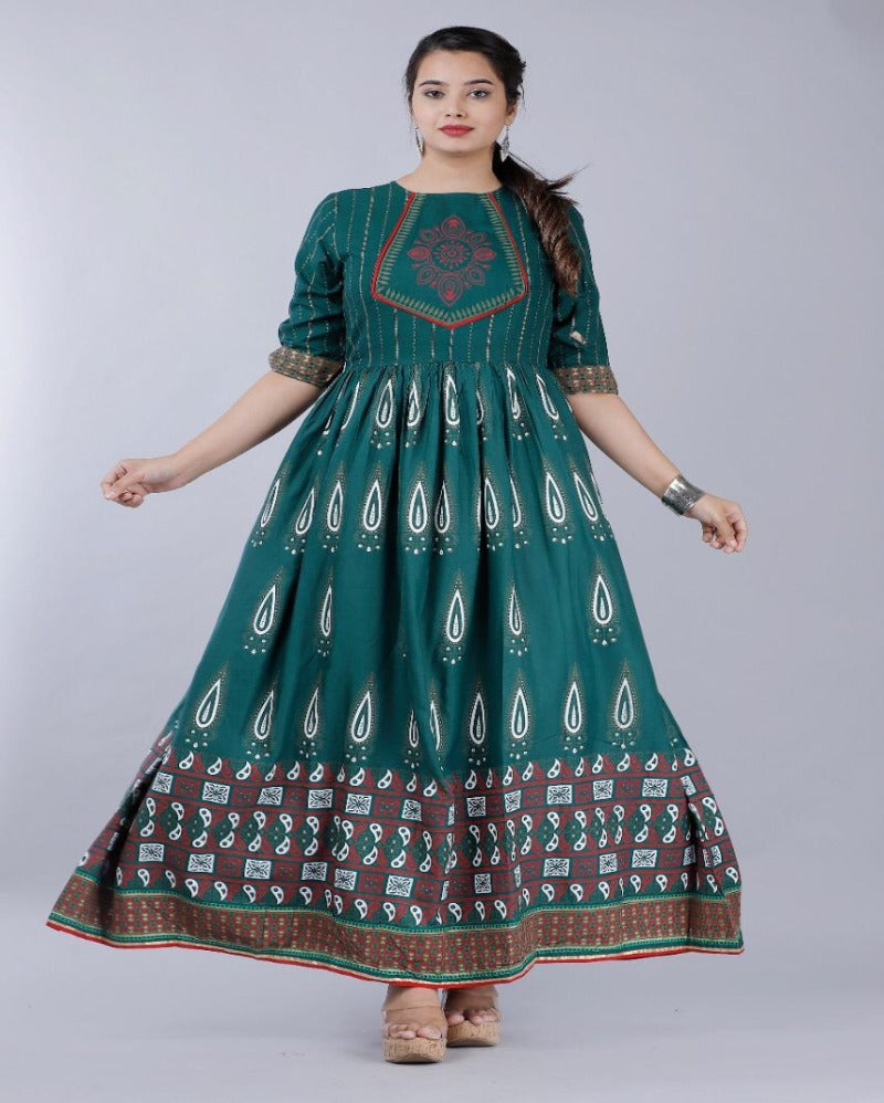 Green Anarkali Neck Design Gown