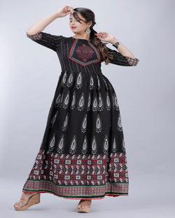 Black Anarkali Neck Design Gown