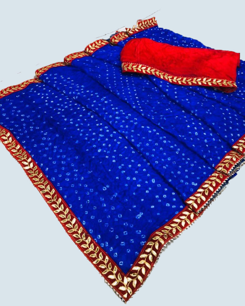 Bandhej Velvet Border Navy Blue Saree