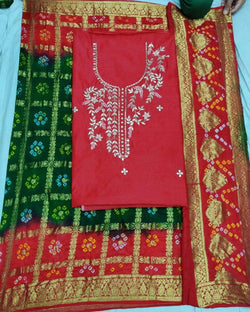 Red Dressmaterial With Banarasi Dupatta