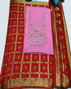 Light Pink Dressmaterial With Banarasi Dupatta