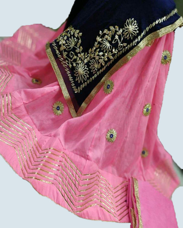 Light Pink Georgette Zig Zag Lehenga