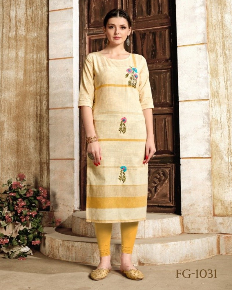 Yellow Handwork printed Cotton Kurti