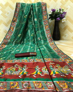 Green Silk Weaving Saree
