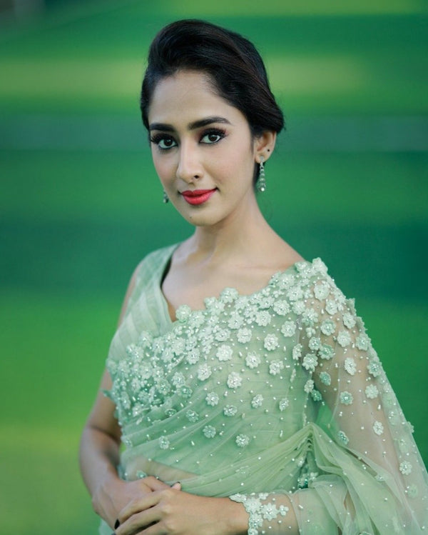 Butterfly Net Green Saree