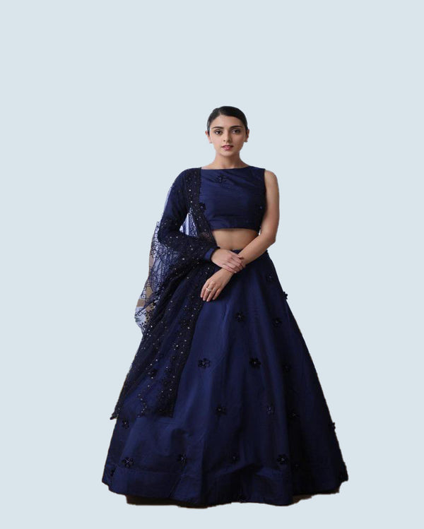 Partywear Navy Blue Silk Bridesmaid Lehenga