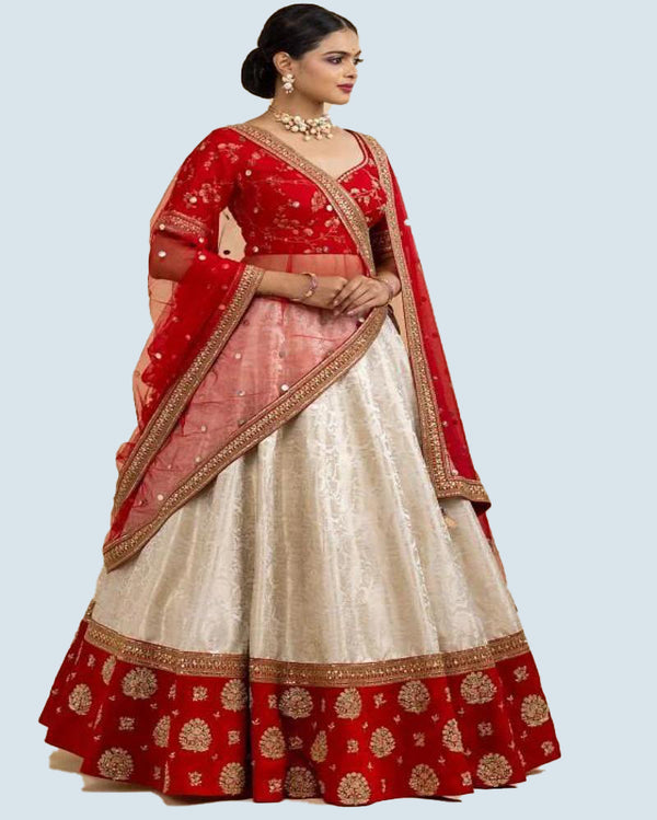 White Silk Bridemade Lehenga