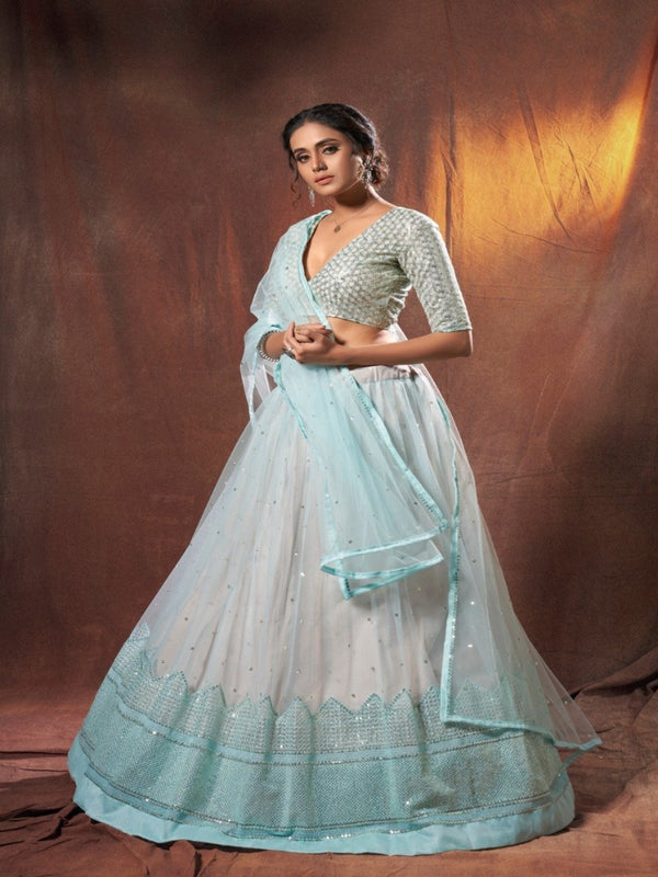 Resham Sequence Light Blue Lehenga