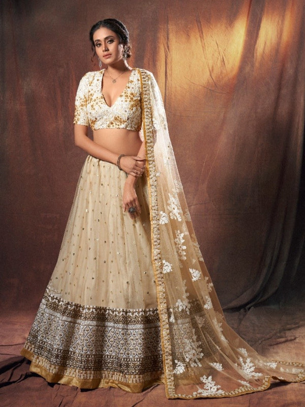 Sequence Beige Zari Rich Lehenga