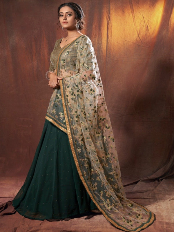 Green Thread Sequence Partywear Lehenga