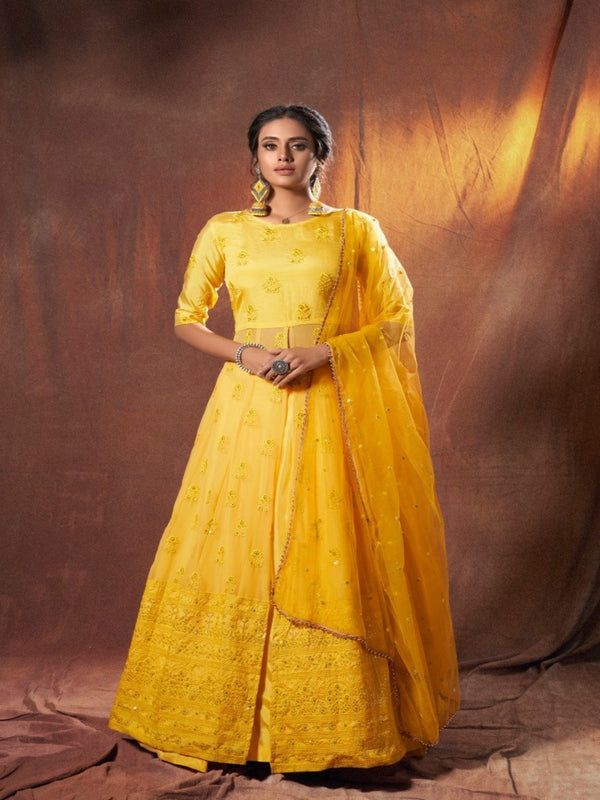 Lime Yellow Lucknowi Rich Lehenga