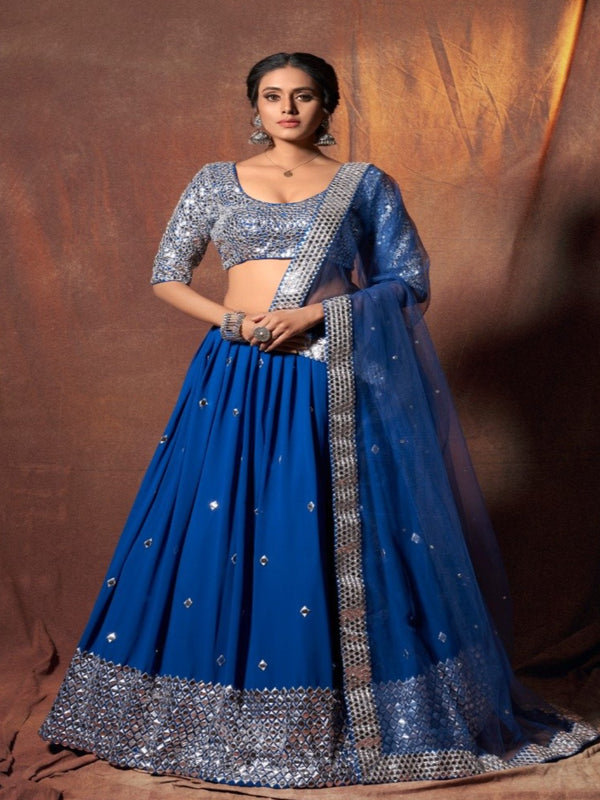 Blue Georgette Sequence Mirror Lehenga