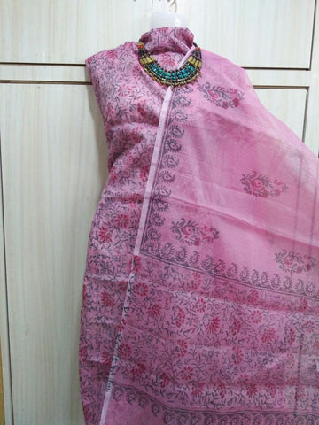 pink kota doria dress material