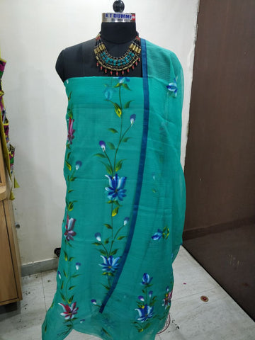 green printed suit cotton dress material
