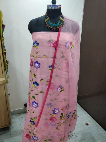 pink printed suit cotton dress material
