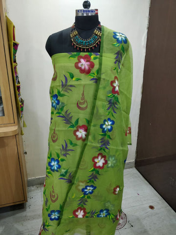 gren cotton dress material