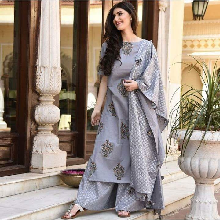 grey colour cotton suit set with palazo