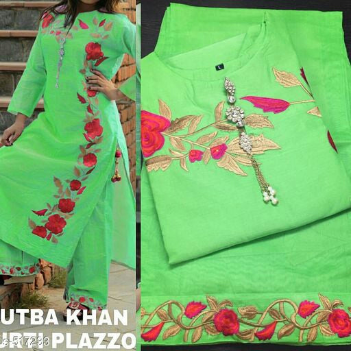 green kurti plazo set