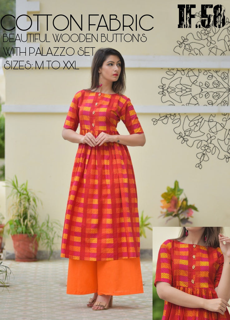 casual flaired kurti plazo set