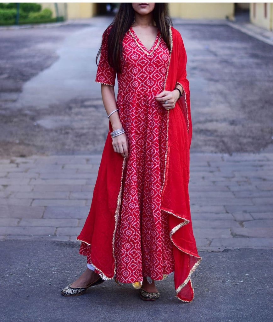 red anarkali gown with dupatta
