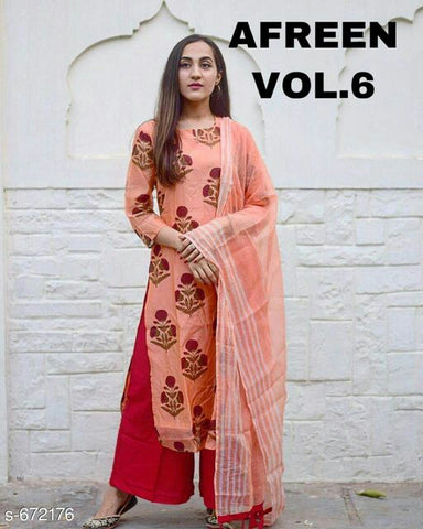 peach kurti plazo with dupatta