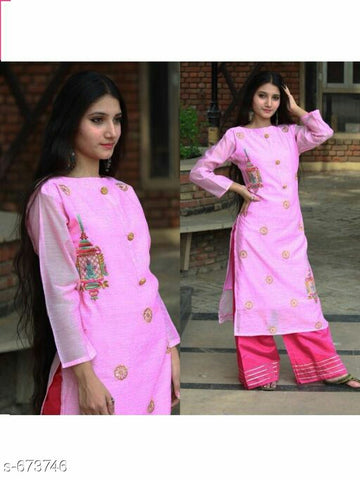 pink chanderi plazo suit set