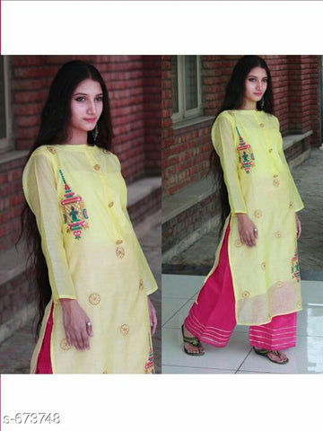 lemon kurti plazo set