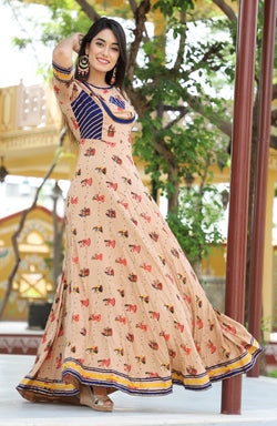 Ethnic printed full length dress - Fashionmozo