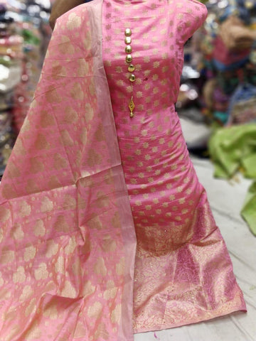 Pink banarsi dress Material